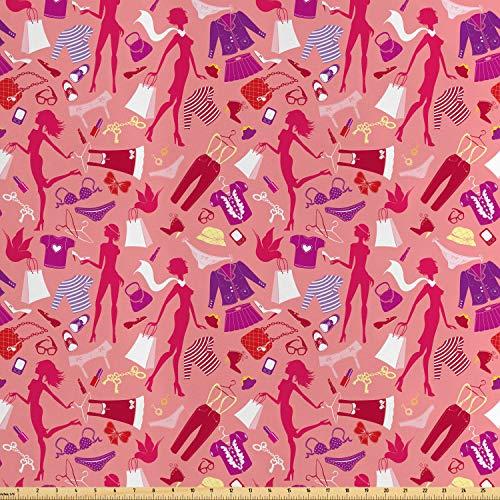 ABAKUHAUS Heels und Kleider Satin Stoff als Meterware, Glamour-Kleidung, Qualitäts Stoff Heimtextilien Wohnaccessoires, 5M (160x500cm), Mehrfarbig Glamour Satin-heels
