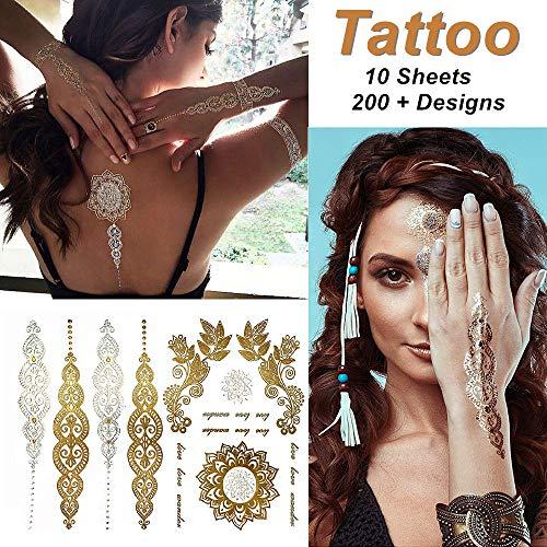 Imitate-metallico tatuaggi temporanei adesivi tatoo finti removibili per bambini adulti donna uomo, non tossico impermeabile oltre 100 tipi