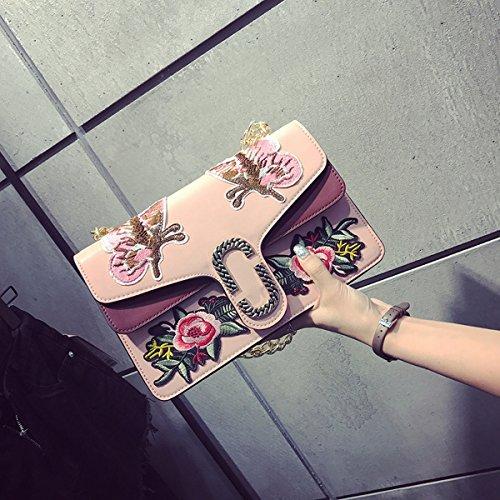klassische Stickerei blumen kleine quadratische paket mode Hit farbe Weibliche Kette Schulter messenger bag Rosa
