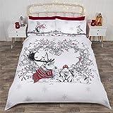 Weihnachten Winter Tiere Kranz rot Baumwollmischung Einzelbett Bettbezug