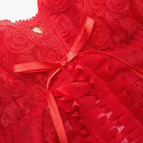Sexy V Kragen Spitze Pyjamas erwachsenen Versuchung Unterwäsche zwei Stücke Sets Rot