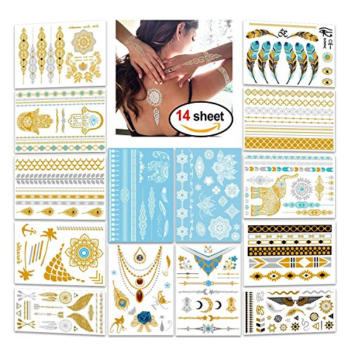 Konsait flash ttatuaggi temporanei per donna bambini, impermeabile metallico tatuaggio temporaneo adesivi gioielli tattoo per adulti donna (14 fogli)