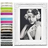 WOLTU 9460 Bilderrahmen Foto Galerie Bild Rahmen Bilder Collage Barock 6 Farben in 5 Größen (Weiß, 13X18)