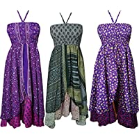 Boho Chic Designs Womens Holiday Hi Low Halter Dress 2 Layer Recycled Silk Sari Cruise Dress S Lot Of 3 Set