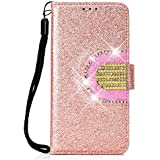 Lomogo Glitter Samsung Galaxy A6 2018 Case Leather Wallet Case with Kickstand Card Holder Shockproof Flip Case Cover for Galaxy A6 (2018) - LOHHA090057 Rose Gold