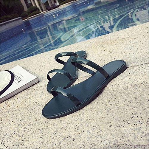 Eizur Sandali Donna Estate Perline Infradito Sandali Ciabatte da Spiaggia Piatte Scarpe Piatto Spiaggia Casuale Open Toe Scarpe Piatte Vacanze Accessorio Verde Scuro