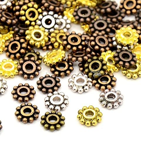 Packet of 40+ Mixed Tibetan 7mm Daisy Flower Spacer Beads - (HA15365) - Charming Beads