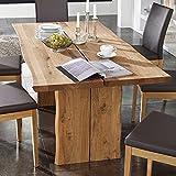 Pharao24 Baumtisch aus Wildeiche massiv geölt Breite 160 cm Tiefe 90 cm