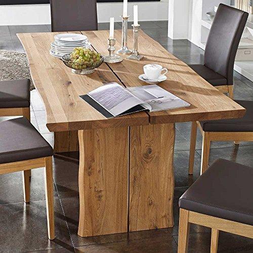 Pharao24 Baumtisch aus Wildeiche massiv geölt Breite 220 cm Tiefe 100 cm