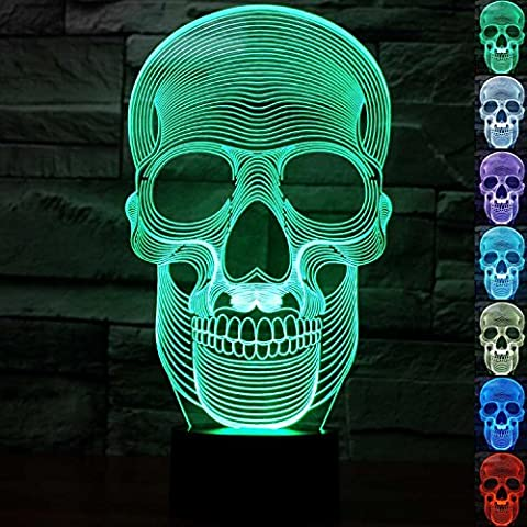 3D Skull Skeleton Night Light Illusion Lamp 7 Color Change LED Touch USB Table Gift Kids Toys Decor Decorations Christmas Valentines Gift