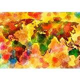 Vlies Fototapete PREMIUM PLUS Wand Foto Tapete Wand Bild Vliestapete - Weltkarte Aquarell - no. 3332, Größe:416x254cm Vlies
