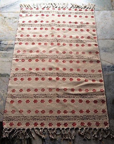 silkroude Indien Kilim Tapis Fait à la Main Kilim Tapis Main Bloc Imprimé Coton Dhurrie Tapis Turc