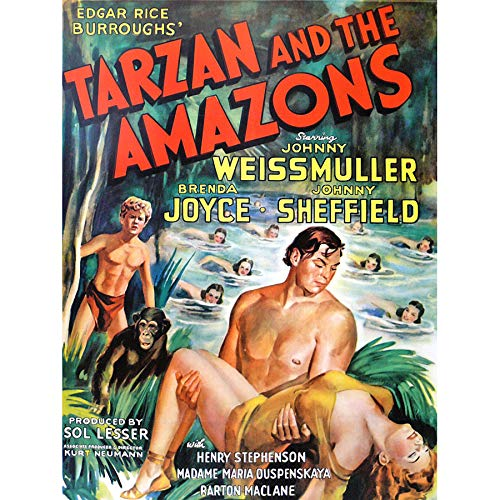 Wee Blue Coo LTD Magazine Cover 1945 Tarzan Amazons Jungle Hero Art Large Art Print Poster Wall Decor 18x24 inch -