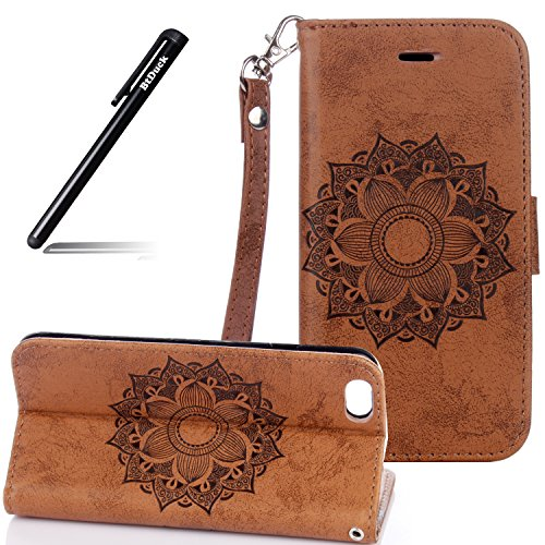 Flip Cover per iPhone 7 4.7,Custodia per iPhone 7 4.7 Cover Fiori,BtDuck Ultra Sottile PU Pelle Retro modello di Fiori Mandala Shell protettivi Bumper Wallet Caso Custodia in Pelle per iPhone 7 4.7 Co iPhone 7 4.7 -Caffè