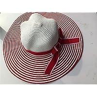 osisdfwa Presidente Visor grandes Toldo a lo largo del sombrero de paja Beach Sun, resistente a los rayos UV, The Red