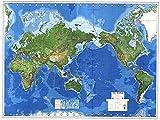 Physikalische Weltkarte mit Pazifik-Ansicht: 1:30 Mio.
