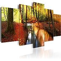 Quadro 200x100 cm ! Tre colori da scegliere - 5 Parti - Grande formato - Quadro su tela fliselina - Stampa in qualita fotografica - Foresta Natura Paesaggio c-A-0064-b-n 200x100 cm B&D XXL