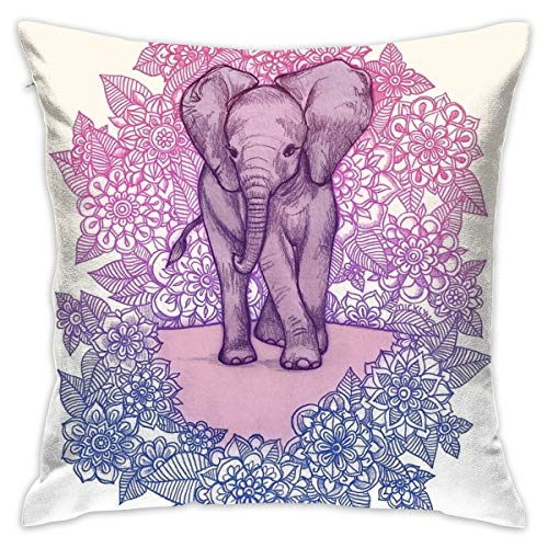 Sotyi-ltd - Funda de cojín con diseño de Elefante en Color Rosa, Morado y Azul para decoración del hogar (45,7 x 45,7 cm)