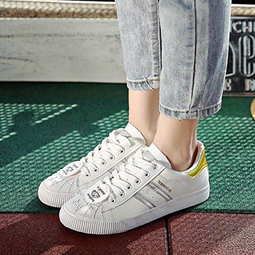 Wywq Chaussures Plates 2018 Printemps Low Top Flat Gym Sports Baskets New Style Collège Petites Chaussures Blanches Loisirs Imperméable Ceinture Baskets Chaussures De Mode Taille 3- Blanc Or