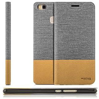 zanasta Tasche kompatibel mit Huawei P9 Lite (VNS-L31) mit Kartenfach Hülle Flip Case Slim Schutzhülle Handytasche, Standfunktion | Grau