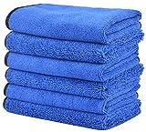 KinHwa Premium Panno in microfibra per Auto Lavaggio a secco Lucidatura di Auto due Diversi Lati Estremamente assorbente e Privo di Lanugine 40cm x 40 cm 6 Pezzi Blu