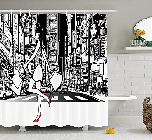 Girly Decor Collection, Girl Shopping in Times Square New York at Night Cityscape Monochromic Sketch Print, Polyester Fabric Bathroom Shower Curtain, 60 x 72 Inches, White Black
