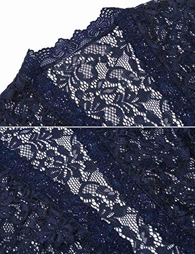 Imposes Damen Spitzen Bolero Jäckchen Cardigan Vintage Kurze Jacke Oberteil Top Dunkelblau