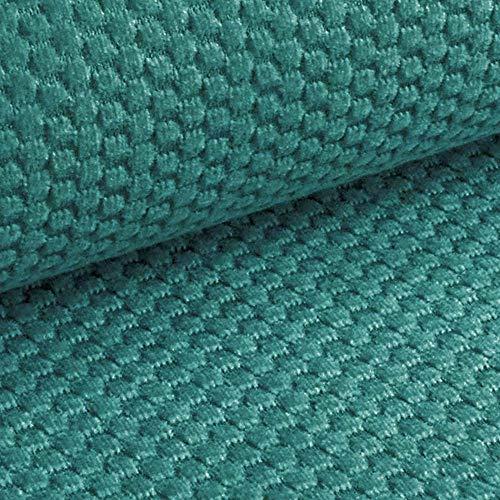 NOVELY® MAKAO - moderner und kuscheliger Möbelstoff mit 3D-Wabenmuster - ULTRAWEICH (09 | Petrol Türkis Blau) -