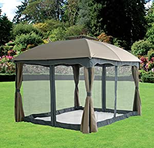 Gazebo mod sidney con tende e zanzariere mt 3x4 colore for Piani gazebo con camino