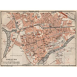 CHESTER town city plan. Grosvenor Precinct Handbridge. Cheshire - 1927 - old antique vintage map - printed maps of Cheshire