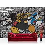 Vlies Fototapete 200x140 cm PREMIUM PLUS Wand Foto Tapete Wand Bild Vliestapete - Disney Tapete Disney - Mickey Mouse Kindertapete Cartoon Comic Maus Walt Disney grau - no. 1064