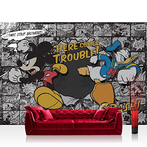 Fototapete 254x184 cm PREMIUM Wand Foto Tapete Wand Bild Papiertapete - Disney Tapete Disney - Mickey Mouse Kindertapete Cartoon Comic Maus Walt Disney grau - no. 1064