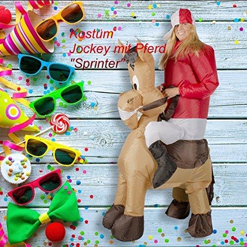 GARDENho.me Aufblasbares Kostüm Jockey mit Pferd Sprinter Polospieler Karneval (Jockey Für Kostüm Mädchen)