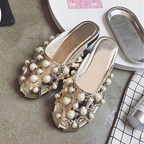 TMKOO& 2017 estate nuovi sandali epoca perla europee e americane scarpe aperte Baotou femminile piatte con pantofole piatta marea selvaggio Gold