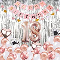 BRT Bearings 18th Birthday Decorations Banner Balloon, Happy Birthday Banner, 18th Rose Gold Number Balloons, Number 18 Birthday Balloons, 18 Years Old Birthday Decoration Supplies