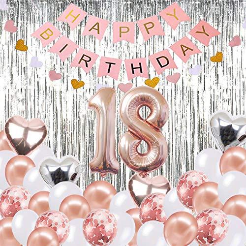 ationen Banner Ballon, Happy Birthday Banner, 18. Rose Gold Anzahl Ballons, Nummer 18 Geburtstag Ballons, 18 Jahre alt Geburtstag Dekoration ()