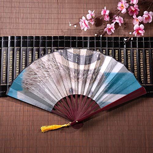 Fans EIN Kleiner Igel mit weißem Hut mit Bambusrahmen Quaste Anhänger und Stofftasche Handfächer Kinder Japanische Fans Für Frauen Bester Handfächer ()