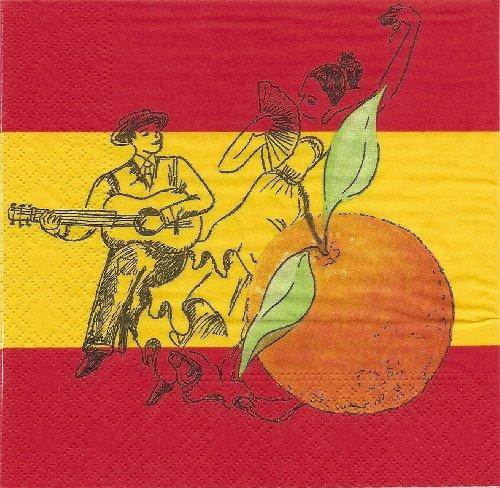 PAP Star 17959, 50 Servietten 3lg.33x33xm SPANIEN MIT MOTIV DEKO PARTY