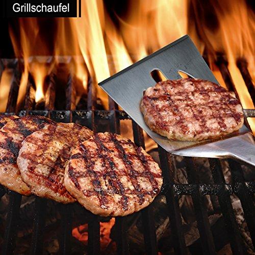 61NztSF4 nL - 6 in 1 Grillbesteck Koffer + BBQ Thermometer Bify Edelstahl Grillbesteck-Set 6-Teile im Aluminium BBQ Grill Zubehör mit Tragetasche