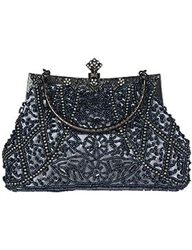 Bagood Women's Vintage Clutches Purses Evening Bags Handbag Shoulder Bag Seed Beaded Sequin Flower for Wedding...