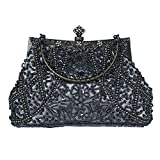 Bagood Damen Vintage Clutches Geldbörsen Abendtaschen Handtasche Schultertasche Seed Perlen Pailletten Blume für Hochzeit Braut Prom Party grau