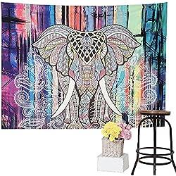 Premium calidad bohemio Mandala Elefante Tapestry por Varano–HD no-fading impresión Digital–claro patrones y colores vivos