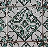 Orientalische Keramik Fliesen handbemalte marokkanische Motiv Fliese 10 x 10 cm Ebru grün