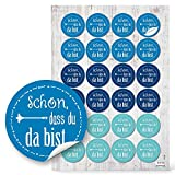 48 blau türkise runde - Schön, dass Du da bist - Aufkleber für Hochzeit, Geburtstag, Kommunion und andere Feste und Feiern. 1a-Qualität - 4 cm hergestellt von Jeanette Dietl