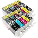 10 Tintenpatronen kompatibel zu CLI-551 PGI-551 mit Chip: je 2x PGI-550PGBK XL, CLI-551BK XL, CLI-551C XL, CLI-551M XL, CLI-551Y XL für Canon Pixma IP7250, MG5450, MG6350, MG5550, MG6450, MG5650, MG 5655, MG7550