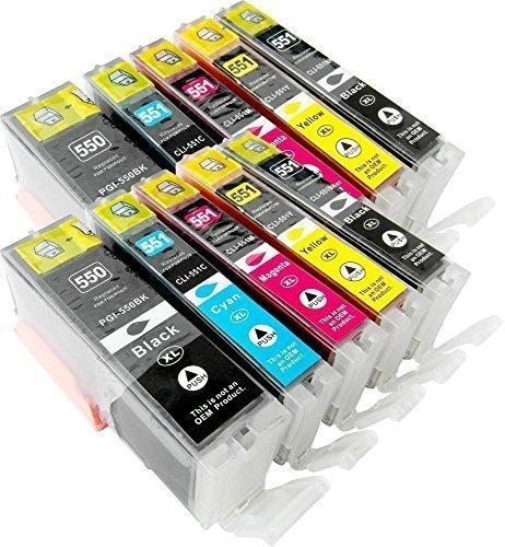 Preisvergleich Produktbild 10 Druckerpatronen kompatibel zu CLI-551 PGI-551 mit Chip: je 2x PGI-550PGBK XL, CLI-551BK XL, CLI-551C XL, CLI-551M XL, CLI-551Y XL für Canon Pixma IP7250, MG5450, MG6350, MG5550, MG6450, MG5650, MG 5655, MG7550