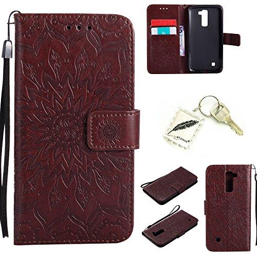 Preisvergleich Produktbild Silikonsoftshell PU Hülle für LG K10 (5,3 Zoll ) Tasche Schutz Hülle Case Cover Etui Strass Schutz schutzhülle Bumper Schale Silicone case+Exquisite key chain X1#AD (1)