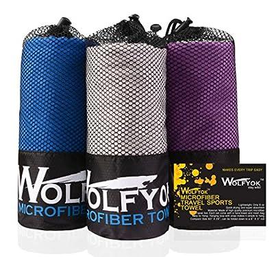 Wolfyok Mikrofaser Sport Handtuch, wasseranziehendes und schnell trocknendes Handtuch Set, XL Ultrakompaktes Handtuch (148x75cm) und Mini Reinigungstuch (35x36cm), für Reise, Sport, Turnhalle, Schwimmen, Wandern, Strand oder Yoga