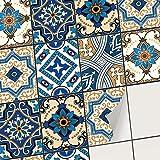 Autocollant Carrelage Sticker adhésif I Stickers carrelage Salle de Bain et Credence Cuisine - tuiles Mural I Carrelage adhésif (15x20 cm I 48 - Pièces)