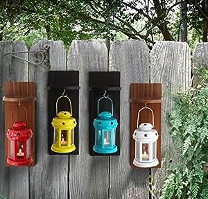 Tied Ribbons Garden Decor Lights Handcrafted Lantern Tea Light Holder With Wooden Shelve (Set Of 4)